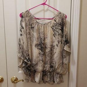 dressbarn cold shoulder blouse sz XL